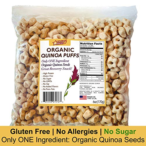 Awsum Snacks Organic Quinoa Puffs Cereal 6oz bag Gluten Free Puffed Quinoa Seeds Grain Nine Essential Amino Acids Healthy Vegan Diabetic Pop High Protein And Fiber Crispy Chips No Sugar ()