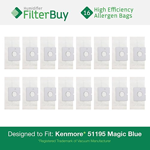16 - Kenmore 51195 Magic Blue Canister Micro Allergen Vacuum Bags. Designed by FilterBuy to Replace Kenmore Part # 20-51195 (2051195) and Kenmore M Bags. (Kenmore Blue Magic Parts compare prices)