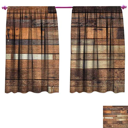Darkening Wide Curtains Rustic Floor Planks Print Grungy Look Farm House Country Style Walnut Oak Grain Image Decorative Curtains for Living Room W55 x L45 Brown ()