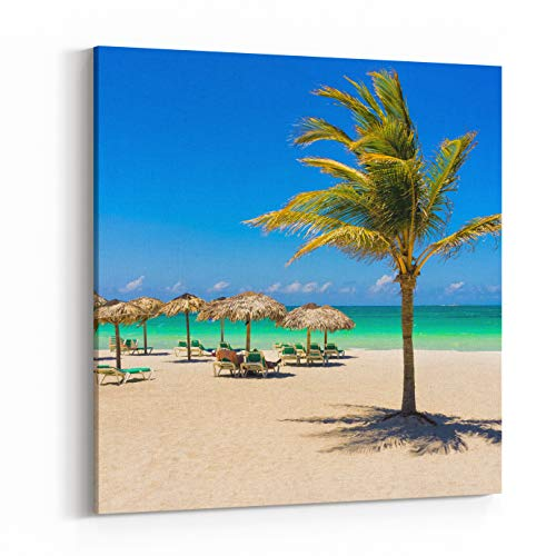 Rosenberry Rooms Canvas Wall Art Prints - View of Varadero Beach in Cuba with A Coconut Tree, Umbrellas and A Beautiful Turquoise Ocean (12 x 12 inches)
