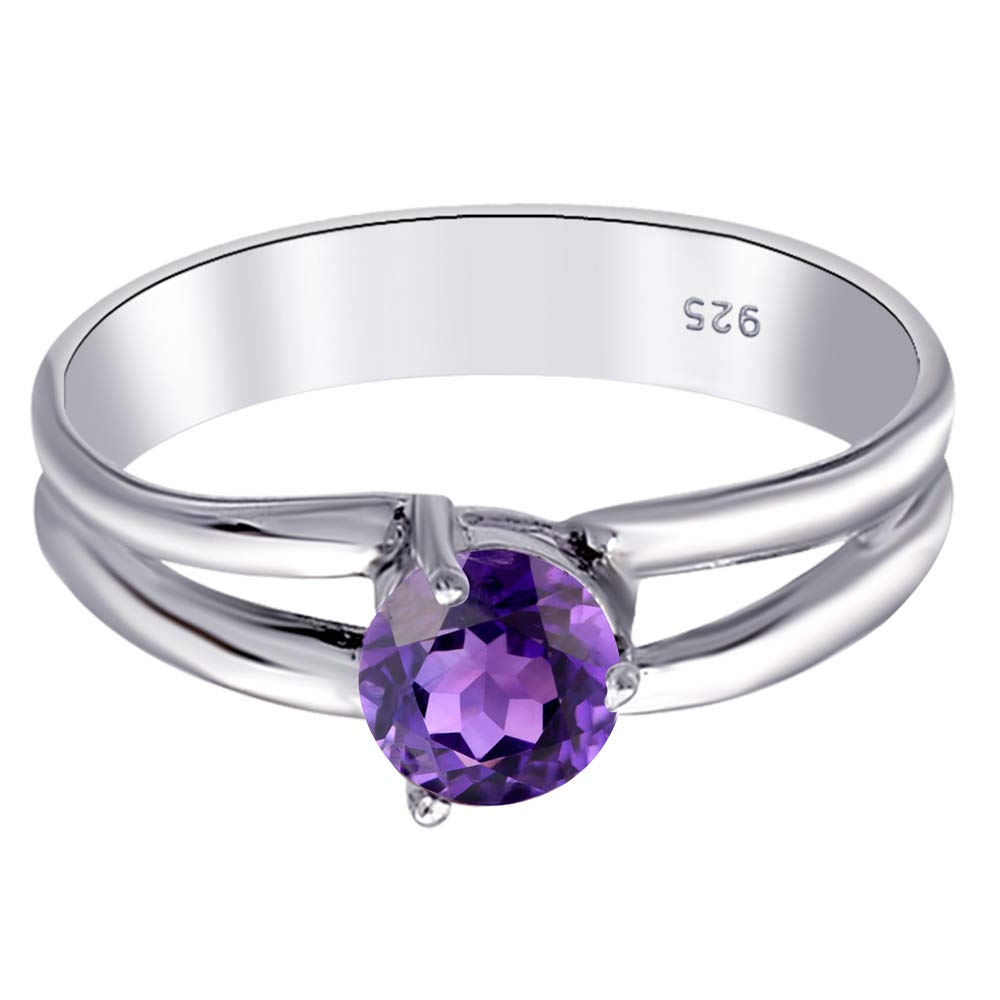 925 Sterling Silver Ring 0.5 Ct Round-Cut Purple Amethyst Solitaire by Orchid Jewelry