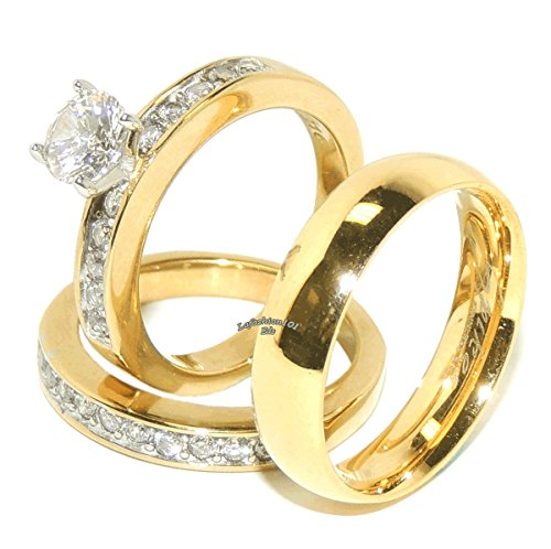 - Lanyjewelry His/Hers 3 PCS Round Cut CZ Gold IP Stainless Steel Ring Set/Mens Gold Band-W6M7