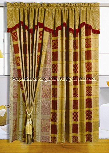 Maroon Jewel Patchwork Curtain Set w/ Valance