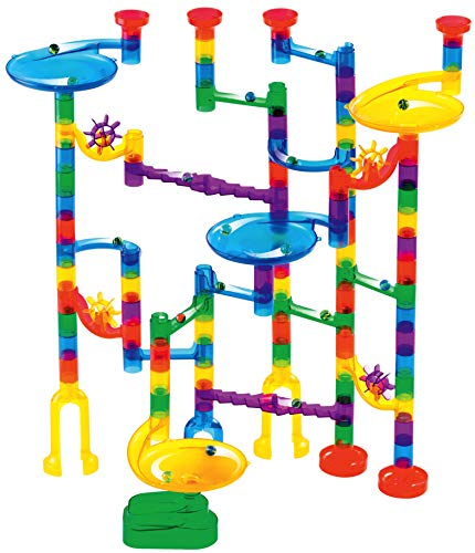 Marble Genius Marble Run Starter Set - 130 Complete Pieces + Free Instruction App (80 Translucent Marbulous Pieces + 50 Glass Marbles) -