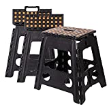 Livebest 15'' Folding Step Stool with Carrying Handle for Kids and Adults,Kitchen and Garden,Hold up to 300lbs