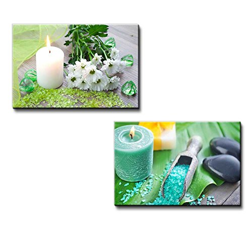 Bath Salt with Candle and Flower Spa Concept Wall Decor ation x2 Panels