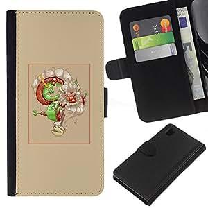 Protector de cuero de la PU de la cubierta del estilo de la carpeta del tirón BY RAYDREAMMM - Sony Xperia Z1 L39 - Asian Dream Dragón