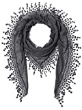 Cindy & Wendy Lightweight Triangle Floral Fashion Lace Fringe Scarf Wrap for Women (SSLS-Charcoal)