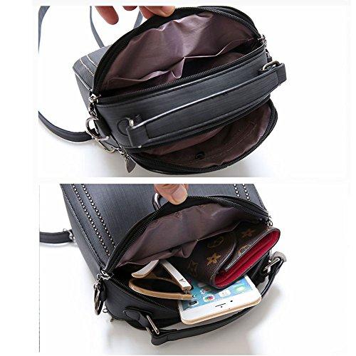 ZCM Rucksäcke Handtaschen Nieten Retro Mode Umhängetaschen Pendler Tote Bags - 3 Farben zur Auswahl Schwarz BsOTRN7U