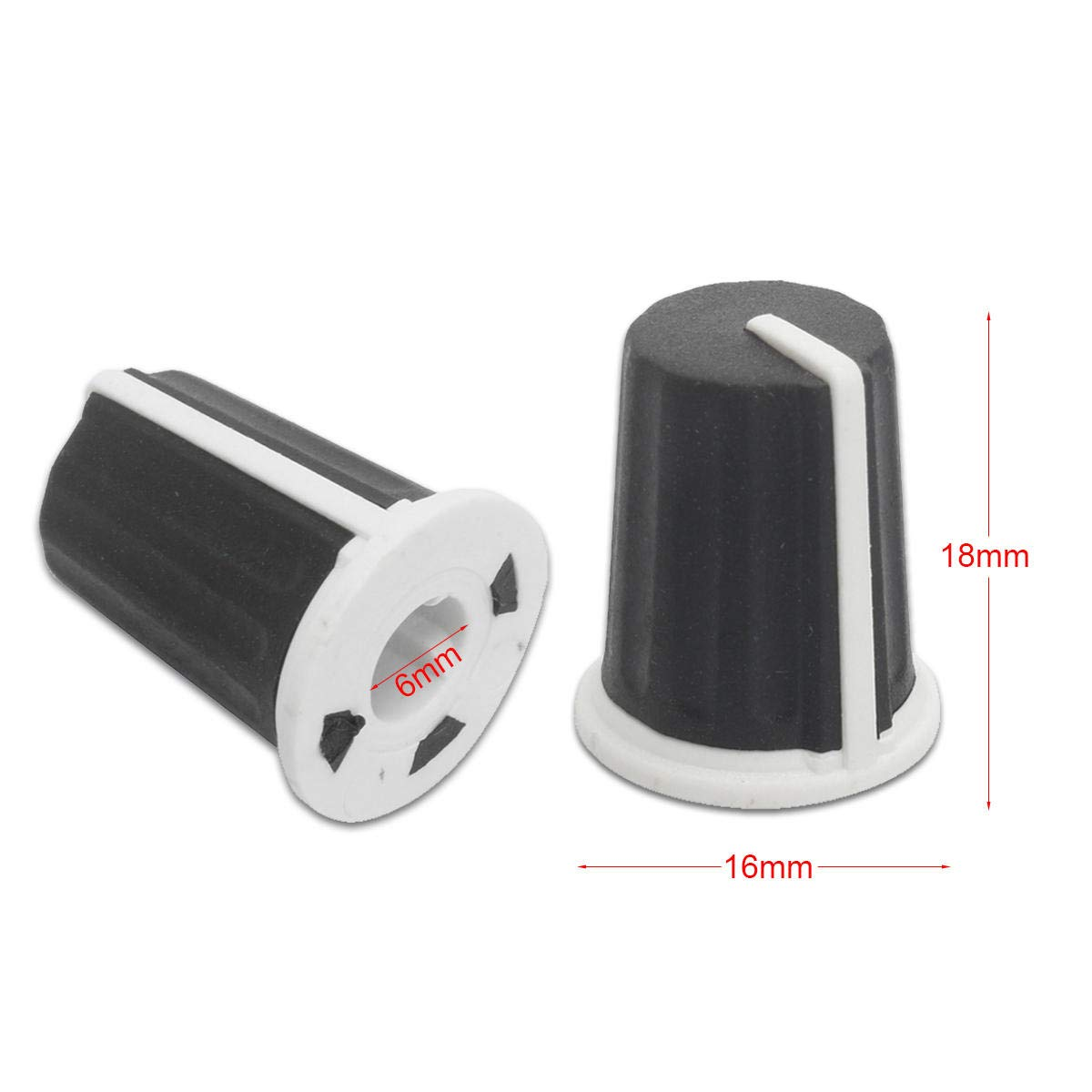 Soft Touch Free Shipping 10 x Black Knob with Blue Pointer High Quality