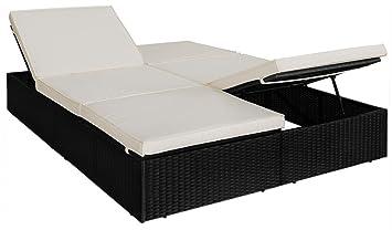 Deuba® Poly Rattan Sonnenliege Gartenliege Schwarz | 2 Liegeflächen + 7cm  Dicke Auflagen | 2