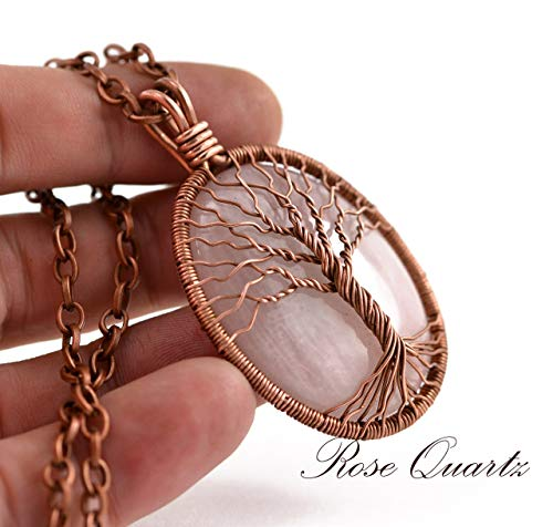 - Antique Copper Rose Quartz Necklace Tree-Of-Life Pendant Wire Copper Jewelry Rustic Amulet Talisman Family Tree Pink Stone Crystal Necklace Gift For Her Artisan HANDMADE