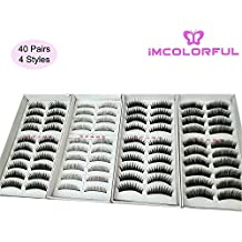 Imcolorful Natural False Lashes Multipack Handmade Fake Eyelashes set for Makeup Cosmetic (40 Pairs, 4 Styles)