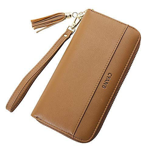 Cyanb Women Wallets Tassel Bifold Ladies Cluth Wristlet Wrist strap Long Purse Bright Brown