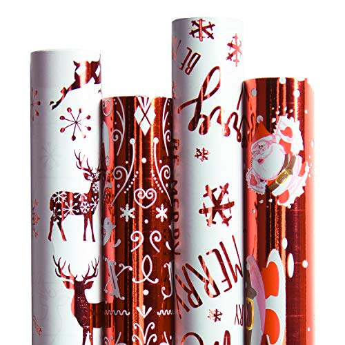 RUSPEPA Christmas Gift Wrapping Paper-Red and White Paper...