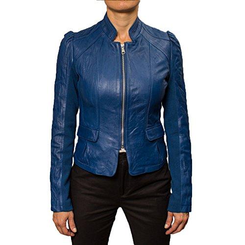 Buffalo David Bitton Women's Blue Leather Jacket
