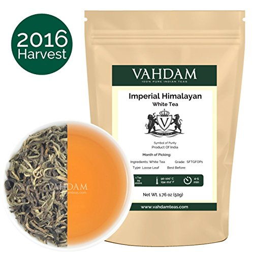 Vahdam – Imperial White Tea Leaves from the Himalayas – World's Healthiest Tea Type, 2016 Fresh Harvest Hand-plucked at High Elevation Tea Plantations, Floral & Delicious (1.76 oz / 50gm)