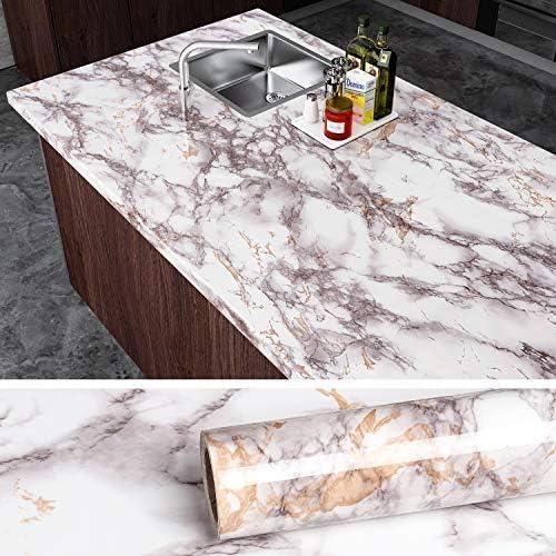 Grey Marble Wallpaper Kitchen Worktop Cover Cupboard Door Wrap Cabinet Stickers