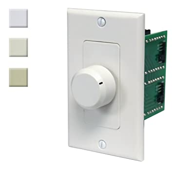 100W In Wall Stereo Speaker Volume Control with Impedance Matching  (White-Ivory-Almond) by AVX Audio