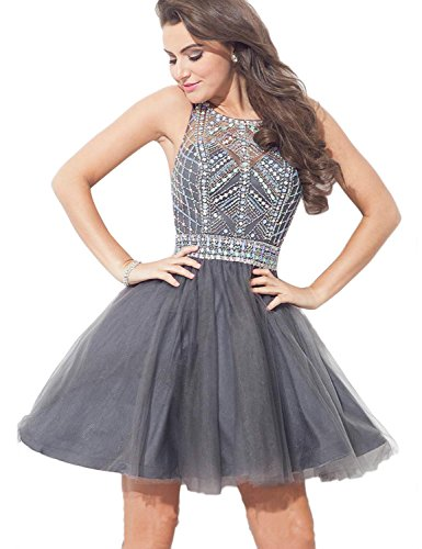 Beaded Empire Halter - A Line Halter Homecoming Dresses 2018 Empire Waist Beaded Tulle Formal Party Gown Sleeveless Sexy Open Back Party Dress YW71 Gray Size 2