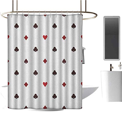 MKOK Extra Wide Shower curtain54 x72 Casino,Gambling Club Lifestyle Fortune Luck Advertise Minimalistic Design Artwork Red Ruby Maroon,Washable,Durable,Brick Dobby Pattern for Bathroom]()