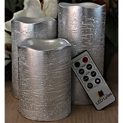 Battery Operated Flameless Candles Set of 3 Round Rustic Silver Coated Ivory Wax with Warm White Flame Flickering LED Candles, auto-Off Timer Remote Control by LED Lytes: Home Improvement