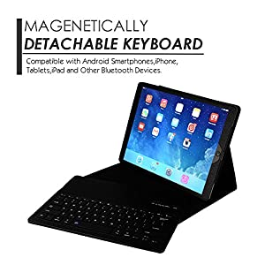 Apple iPad Air/Pro 9.7 Keyboard Case,Eoso Folding Leather Folio Cover with Removable Bluetooth Keyboard for iPad Air,iPad Air 2,iPad Pro 9.7 Tablet(Black)