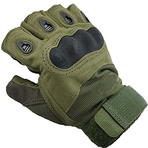 T&Z men's Half-finger Outdoor Sports Riding Cycling Airsoft Hunting Military Tactical Gloves (Green Size:M)
