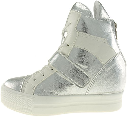 Maxstar C2 Velcro Bands Tall Up High-Top Sneakers Shoes C2-1-Silver Akumlbs1
