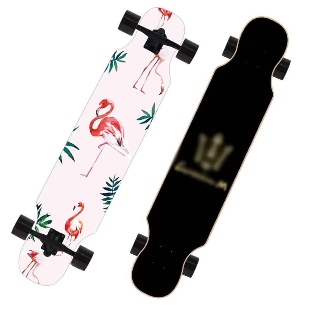 KTYXDE スクーターメイプルロングボードブラシストリートダンスボード四輪ダブルスケートボードスケートボード初心者ティーンボーイガールプロスケートボード (Color : I) I