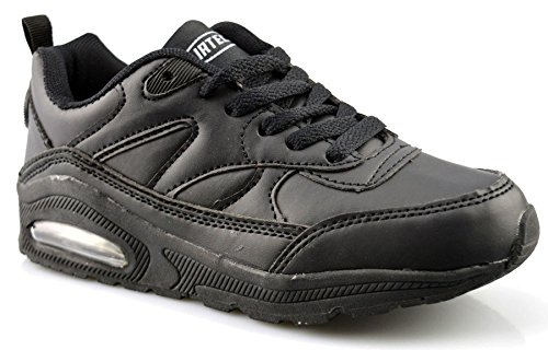 Air Tech Boys Girls Womens Unisex New Lace Up Casual Trainers Shoes Size 13-6 Black
