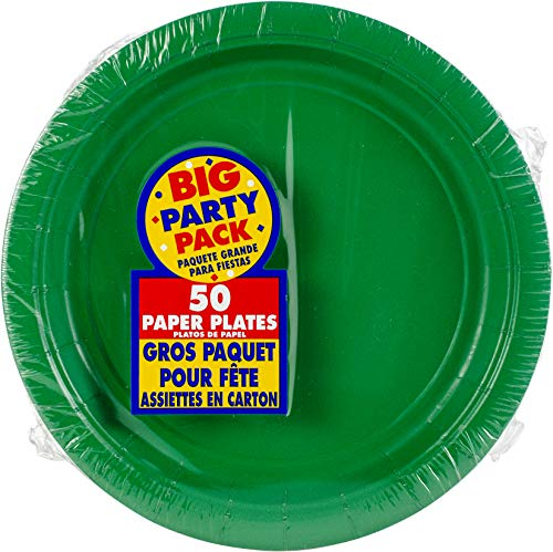 (Festive Green, Big Party Pack, Round Paper Plates 7