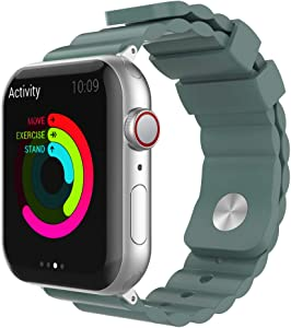AhaStyle Stylish iWatch Band Breathable Silicone Wrist Strap Replacement Compatible with Apple Watch Series SE/6/5/4/3/2/1, iWatch 38mm 40mm 42mm 44mm(Pine Green, 42mm/ 44mm)