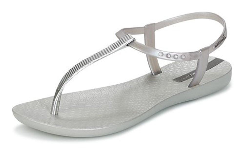 Ipanema Damen Charm Ii T-Spangen Sandalen, Schwarz  39 EU|Silver