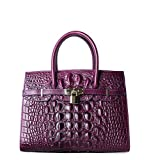 PIFUREN Women Top Handle Handbags Satchel Shoulder Tote Crocodile Bag E79016(30CM, 30cm Violet)