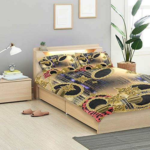 LONSANT Baroque Duvet Cover Set Baroque Golden Objects Brass Chains Colored Design Bedding Decoration Twin XL Size 3 PC Sets 1 Duvets Covers with 2 Pillowcase Microfiber Bedding Set Bedroom Decor Acc (50 Golden Chain Baroque)
