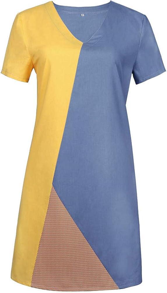 Womens Plus Size S-XXL Dresses Summer V-Neck Short Sleeve Midi Dress Daily Color-Block Bohemian Vintage Dresses