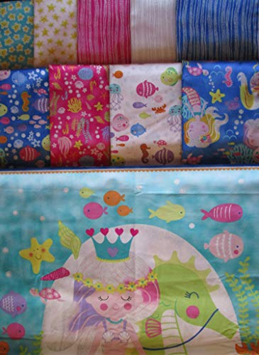9 Fat Quarters + 1 Panel Mermaid Wishes & Starfish Kisses from Northcott Cotton Quilt Glitter Fabric