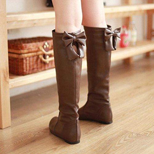 Botas De Invierno Para Mujer Inkach | Botas Altas Hasta La Rodilla Zapatos | High Tube | Botas Con Tacones Planos Marrón Claro
