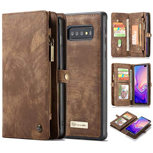 Galaxy S10/ S10 Plus Case Wallet,AKHVRS Handmade Premium Cowhide Leather Wallet Case,Zipper Wallet Case [Magnetic Closure] Detachable Magnetic Case & Card Slots for Samsung Galaxy S10 Plus - Brown