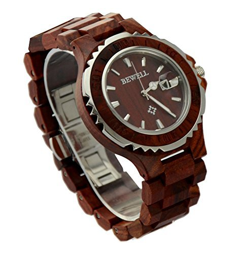 Ideashop® Men's Wood Red Sandalwood Watches and Steel White Silver Watch with Date Calendar for Lovers Gift by...