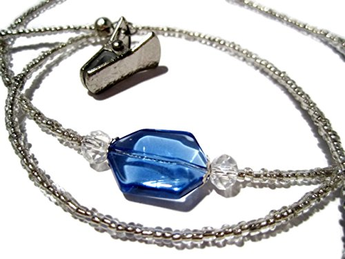 ATLanyards Blue with Silver Eyeglass Holder - Beaded Eyeglass Chain With Clips (Silver Beaded Eyeglass)