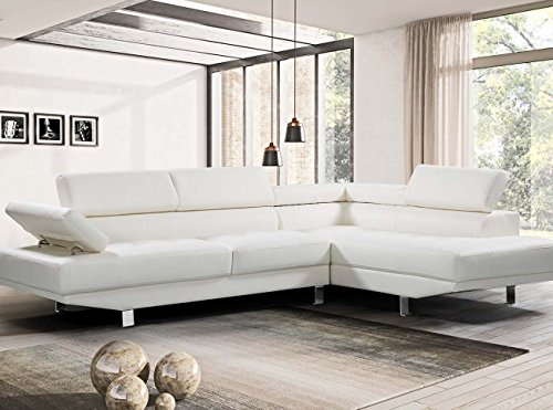 Harper&Bright Designs 2 Piece PU Leather Sectional Sofa Living Room Modern Furniture Adjustable Armrests (White)