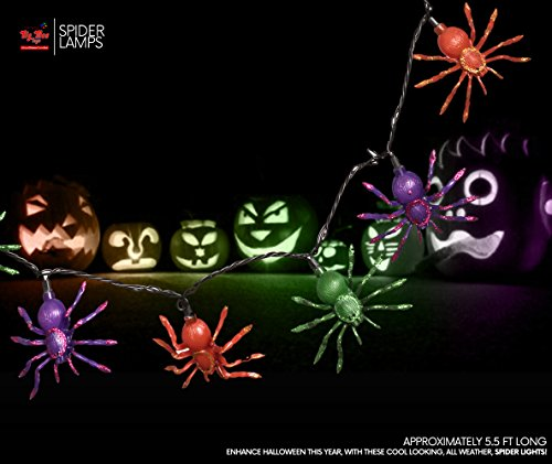 Big Mo's Toys Glitter Spider String Lights - Halloween Party Decorations Powered by Outlet - 1 Pack