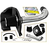 Cold Air Intake System with Heat Shield Kit + Filter Combo BLACK Compatible For 14-17 Chevy Silverado 1500 / GMC Sierra 1500 4.3L V6