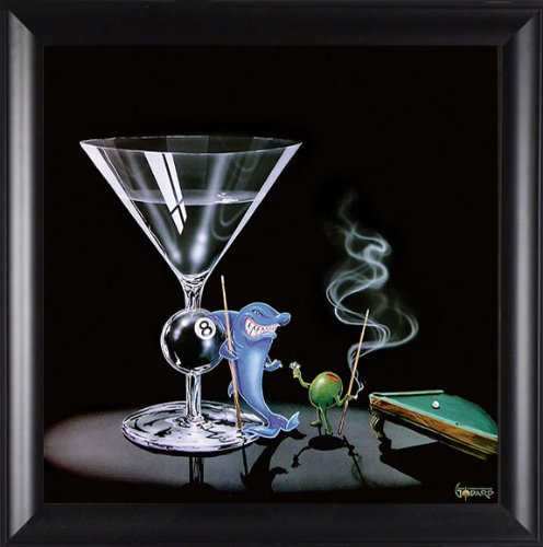 Pool Shark by Michael Godard 15.75x15.75 Gallery Quality Framed Art Print Novelty Humor Picture