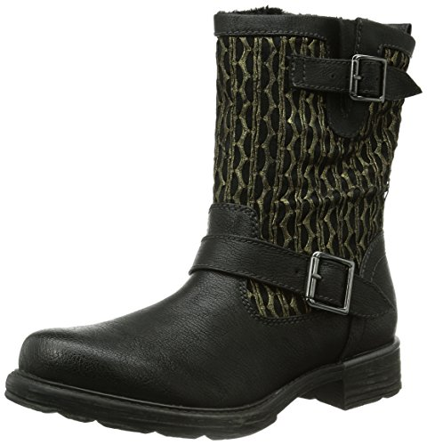 91 Biker Mehrfarbig Tamaris Boots Unlined Short black Length gold Women's Multicolour 25078 qtWU7tP