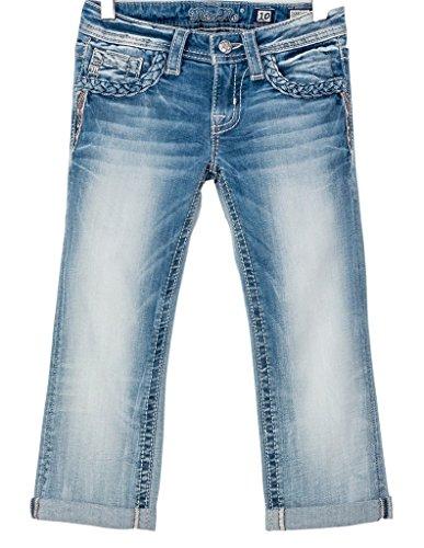 Miss Me Denim Jeans Girls Dizzy Spell Capri Cuffed 10 Light JK8824P2