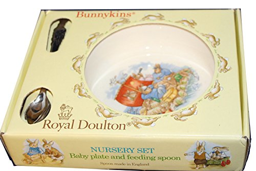 Royal Doulton Bunnykins Nursery Set - Baby Plate and Feeding Spoon - Features the Bunny's on a Raft
