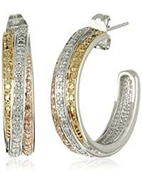 Brass, 18k Yellow and Rose Gold-Plated Bypass J-Hoop Earrings
